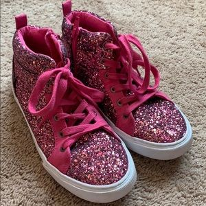 Girls Gap Pink sparkle high top sneakers